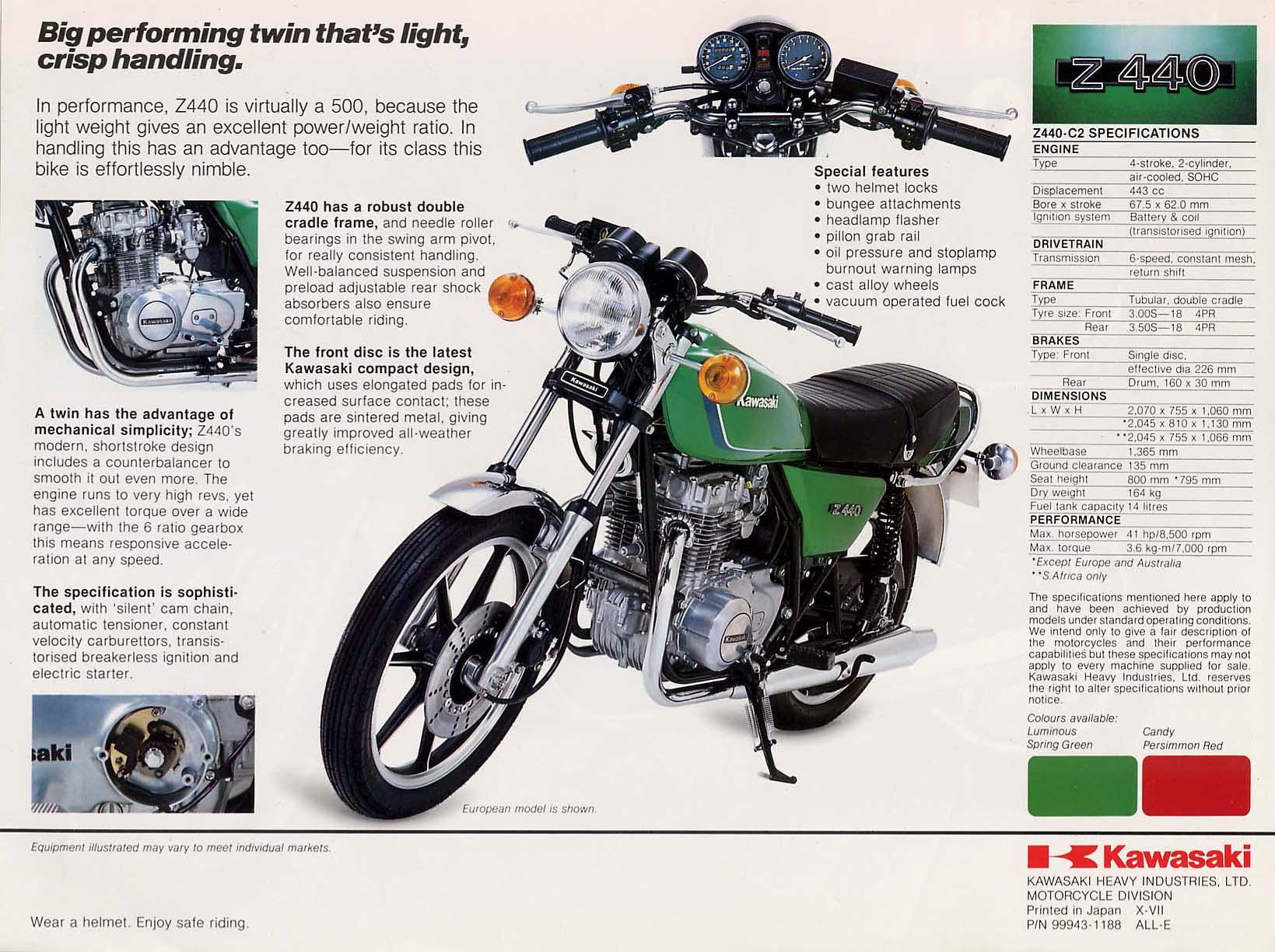 Year, Title, Picture, Description. 1979, Kawasaki KZ400 LTD 440